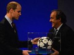 champions league final 2013: michel platini presents prince william with ball ahead of wembey showdown
