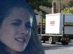 kristen stewart cuts a sad figure after watching moving trucks take away the last of robert pattinson's belongings from her home