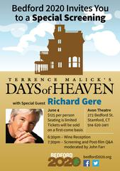 bedford 2020 is hosting a special screening of the landmark film, days of heaven, featuring its star, richard gere.  <br/> <br/>&ldquo;the oscar winning cinematography and beautiful landscapes in days of heaven offer a visual reminder of why it is so impo